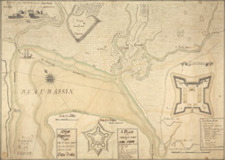 A Map of Chignectou Bason, with the Country Adjacent, And Plans of the English and French Forts, in Nova Scotia